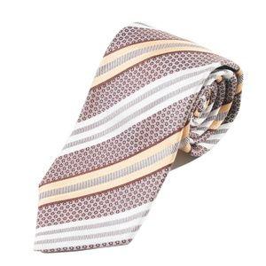 Ermenegildo Zegna Brown Patterned Stripe Silk Tie